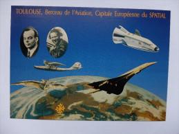 CARTE POSTALE - FRANCE - 100 ANS DE CLEMENT ADER A HERMES - 12° SALON CLUB CARTOPHILES MIDI PYRENEES 19 NOVEMBRE 1989 - Aviadores