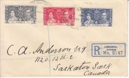 Cyprus FDC Scott #140-#142 1937 Coronation Of George VI Registered To Canada R Limassol, Cyprus No. 2147 - Cipro (...-1960)