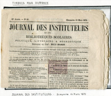 FRANCE JOURNAL DES INSTITUTEURS DIMANCHE 13 MARS 1870 AFFRANCHI AVEC TIMBRE POUR JOURNAUX 2 C. VIOLET DENTELE - Newspapers