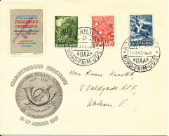 Denmark Nordic Stamp Exhibition 17-8-1947 With Complete Set Liberty Stamps - Expositions Philatéliques