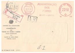 LETTRE PORTUGAL. 1977. RECOMMANDE DE BOLSA-PORTO. A.R..  EMA BOLSA-PORTO ADMINISTRACAO 22$50 /2476 - Marcophilie