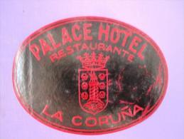 HOTEL RESIDENCIA PENSION HOSTAL PALACE ORIENT LA CORUNA SPAIN LUGGAGE LABEL ETIQUETTE AUFKLEBER DECAL STICKER MADRID - Etiketten Van Hotels