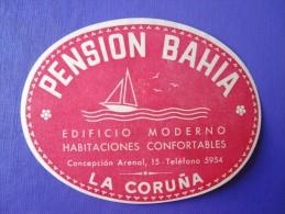 HOTEL RESIDENCIA PENSION HOSTAL BAHIA LA CORUNA SPAIN LUGGAGE LABEL ETIQUETTE AUFKLEBER DECAL STICKER MADRID - Hotel Labels