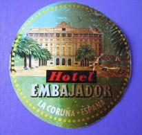 HOTEL RESIDENCIA PENSION HOSTAL AMBASSADOR LA CORUNA SPAIN LUGGAGE LABEL ETIQUETTE AUFKLEBER DECAL STICKER MADRID - Hotel Labels