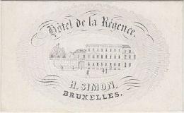 23355Mg Carte Porcelaine HOTEL De La REGENCE - H. SIMON - Bruxelles - 9.4x5.7c - Visitekaartjes