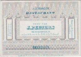 23362Mg Carte Porcelaine RESTAURANT A L'ETRANGER -  J. PEETERS - Rue De Ruisbroeck, 38 - Bruxelles - 8.6x6.1c - Cartes De Visite