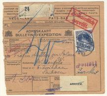 Niederlande Michel No. 168 auf Paketkarte