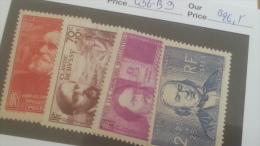 LOT 231894 TIMBRE DE FRANCE NEUF* N�436 A 439 VALEUR 26,5 EUROS
