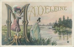 FEMMES - FRAU - LADY - Jolie Carte Fantaisie Femmes Prénom MADELEINE - Prénoms