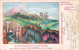 (64) Bétharram - Splendides Grottes De Stalactites - Illustration - En L'état - 2 SCANS - Lestelle-Bétharram