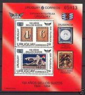 Aviation Plane And Switzerland Stamp On Stamp Expo S/S URUGUAY Sc#1520 MNH Cv$11 - Aviones