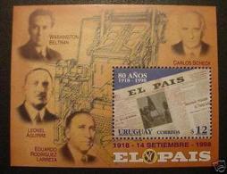 Printing Press Newspaper Journalism URUGUAY Sc#1737 MNH S/s  STAMP Cv$4.5 - Uruguay