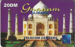 Telefoonkaart.- Duitsland. Telecom Centers. Gnanam. 20 DM. Taj Mahal - Tâdj-Mahal, Wit Marmeren Mausoleum In Agra. - GSM, Voorafbetaald & Herlaadbare Kaarten