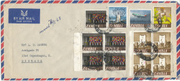 Zambia Air Mail Cover Sent To Denmark Mkhusi 1-5-1968 With 2 Blocks Of 4 + Single Stamps - Zambia (1965-...)