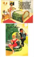 Deutschland - 2 AK - Scherzkarte - Humor - Humorkarte - Femme - Girl - Pin Up - Pin-Ups