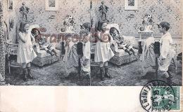 CPA Stereo Stéréoscopique Stereoview - Petites Filles Fillettes Et Garçon - Children Playing - Enfants