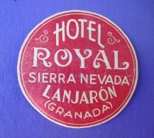HOTEL RESIDENCIA PENSION SIERRA NEVADA LANJARON GRANADA SPAIN LUGGAGE LABEL ETIQUETTE AUFKLEBER DECAL STICKER MADRID - Hotel Labels