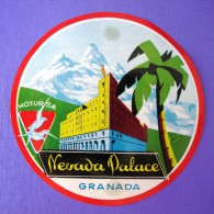 HOTEL RESIDENCIA PENSION SIERRA NEVADA PALACE GRANADA SPAIN LUGGAGE LABEL ETIQUETTE AUFKLEBER DECAL STICKER MADRID - Hotel Labels