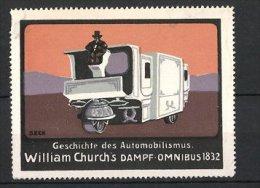 Künstler-Reklamemarke Seck, Serie: Geschichte Des Automobilismus, William Churchs Dampf-Omnibus 1832 - Cinderellas