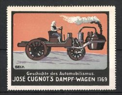 Cartes Publicitaires Illustrateur Seck, Serie: Geschichte Des Automobilismus, Jose Cugnot´s Dampf-Wagen 1769 - Cinderellas