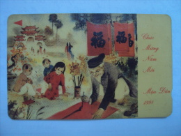 Vietnam Viet Nam Used Magnetic 60000d Phone Card / Phonecard :  New Year Of Tger 1998 / Teacher (old Time) / 02 Images - Vietnam