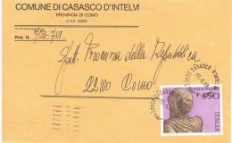 1988 £650 BRONZI DI PERGOLA ISOLATO SU BUSTA COMUNE DI CASASCO D'INTELVI COMO - Affrancature Meccaniche Rosse (EMA)