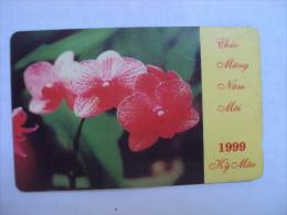 Vietnam Viet Nam Used Magnetic 60000d Phone Card / Phonecard : New Year 1999 / Flower / 02 Images - Vietnam