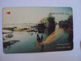 Vietnam Viet Nam Used Magnetic 60000d Phone Card / Phonecard : Fishing In The Morning / 02 Images - Vietnam