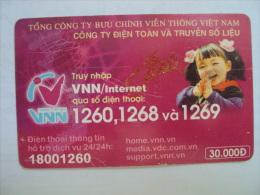 Vietnam Viet Nam Used Chip 30000d Phone Card / Phonecard : VNN Internet Advertisement / 02 Images - Vietnam
