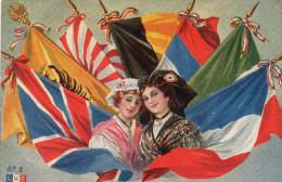 Cpa  Militaria Patriotique Illustree , Medaillon Alsacienne Et Drappeau Plusieurs Pays - Patriotiques