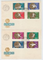 Hungary OLYMPIC GAMES 2 FIRST DAY COVERS FDC 1968 - Summer 1968: Mexico City