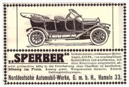 Original Werbung - 1912 - SPERBER - Automobil - Werke In Hameln , Oldtimer !! - KFZ