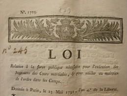 LOI RELATIVE A LA FORCE PUBLIQUE NÉCESSAIRE POUR L´EXÉCUTION DES JUGEMENTS DES COURS MARTIALES ET POUR VEILLER AU MAINT - Documents Historiques