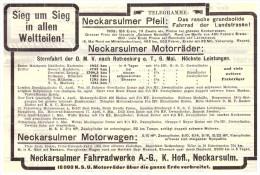 Original Werbung - 1910 - NSU Automobile Und Motorräder , Sternfahrt Nach Rothenburg O.T.,  Neckarsulm , Oldtimer !! - KFZ