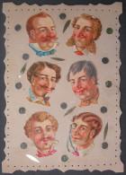 Fin XIXème/1900: CARTE 6 DECOUPIS LES COIFFURES D´HOMMES // FRENCH TRADE CARD -  Them Men Hairstyles - Victorian Die-cuts