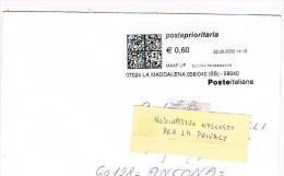 ITALIA - STORIA POSTALE - 2005 - PRIORITARIA DA LA MADDALENA (SS) CON AFFRANCATURA  MECCANICA- RIF.1391 - 2001-10: Marcophilia