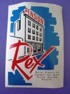 HOTEL RESIDENCIA PENSION REX CANET COSTA DORADA SPAIN ETIQUETA LUGGAGE LABEL ETIQUETTE AUFKLEBER DECAL STICKER MADRID - Hotel Labels