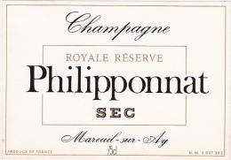 Etiquette Champagne - PHILIPPONNAT à MAREUIL-sur-AY- SEC - ROYALE RESERVE - Champagne