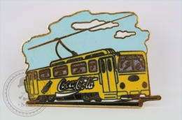 Old Tram Yellow Colour - Coca Cola Advertising - Pin/ Badge - Transportes