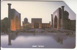 UZBEKISTAN(Urmet) - Mosque(thin Band), Uzbekiston Telecom First Issue 25 Units, Tirage 45000, Used - Uzbekistan