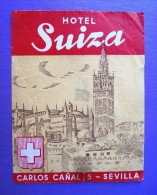 HOTEL RESIDENCIA HOSTAL SWISS SUIZA SEVILLA SPAIN ETIQUETA LUGGAGE LABEL ETIQUETTE AUFKLEBER DECAL STICKER MADRID - Hotel Labels