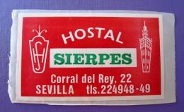 HOTEL RESIDENCIA HOSTAL PENSION SIERPES SEVILLA SPAIN ETIQUETA LUGGAGE LABEL ETIQUETTE AUFKLEBER DECAL STICKER MADRID - Hotel Labels
