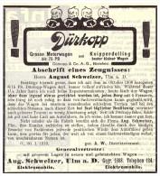 Original Werbung - 1910 - DÜRKOPP - Automobile , Bielefeld , A. Schweizer In Ulm A.D. , Oldtimer !! - KFZ