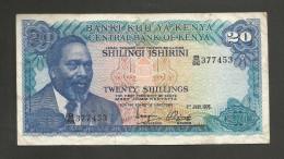 [NC] KENYA - CENTRAL BANK Of KENYA - 20 SHILLINGS (1976) - KENYATTA - Kenia