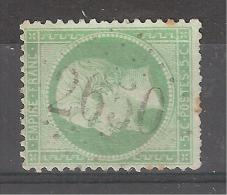 Empire N° 20, 5 C Vert Obl GC 2650 De NEUVY PAILLOUX, Indre, INDICE 15, TB, RARE - 1862 Napoleon III