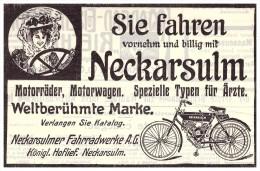 Original Werbung - 1908 - NSU Motorrad , Neckarsulm , Moto , Motorräder !!! - Motorräder