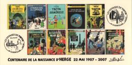 FRANCE 2007 N°17 Albums Fictifs + 2 Cachets Premier Jour FDC TINTIN KUIFJE TIM HERGE GUEBWILLER - Comics