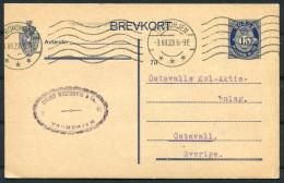 1923 Norway 15ore Stationery Brevkort Eivind Westenvik Trodheim Business Postcard - Ostavall Sweden