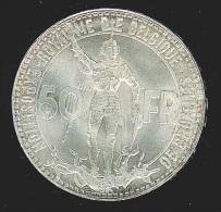 pi�ce en argent - 50f Exposition de Bruxelles & centenaire Chemin de Fer 1935 l�gende FR (dans sa bo�te d'origine) TTB