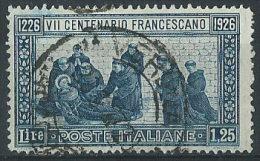 Italia 1926 Usato - S.Francesco £ 1,25 Dent.14 Normale Centratura VEDI SCAN - 1900-44 Victor Emmanuel III.